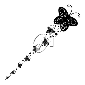 Black Silhouette of a large butterfly and flying after her little butterflies.