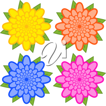 Set of yellow, orange, blue, pink flowers on a white background.