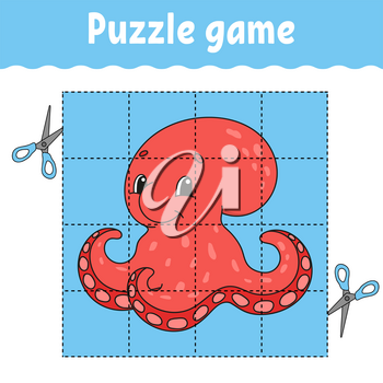 Puzzle game for kids . Education developing worksheet. Learning game for children. Activity page. For toddler. Riddle for preschool. Simple flat isolated vector illustration in cute cartoon style.