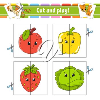 Cut and play. Flash cards. Color puzzle. Education developing worksheet. Activity page. Game for children. Funny character. Isolated vector illustration. Cartoon style.