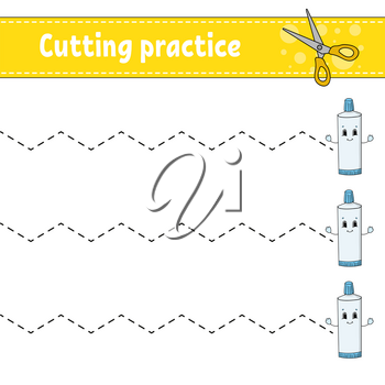 Cutting practice for kids. Education developing worksheet. Activity page with pictures. Game for children. Isolated vector illustration. Funny character. Cartoon style.