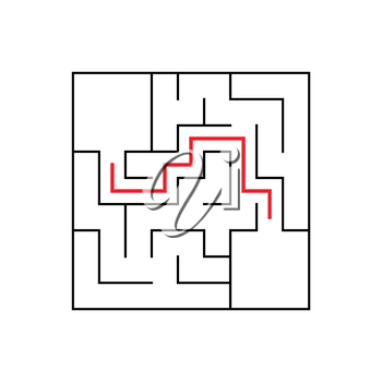 Easy maze. Game for kids. Puzzle for children. Labyrinth conundrum. Find the right path. Vector illustration.