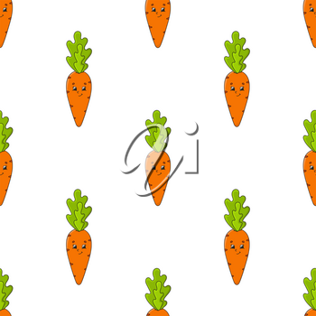 Colored seamless pattern with cute cartoon character. Simple flat vector illustration isolated on white background. Design wallpaper, fabric, wrapping paper, covers, websites.
