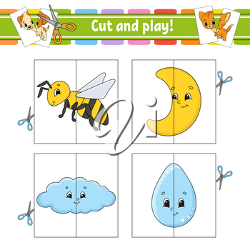 Cut and play. Flash cards. Color puzzle. Education developing worksheet. Activity page. Game for children. Funny character. Isolated vector illustration. Cartoon style