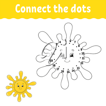 Dot to dot. Draw a line. Handwriting practice. Learning numbers for kids. Education developing worksheet. Activity page. Game for toddler and preschoolers. Isolated vector illustration. Cartoon style