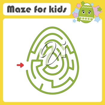 Color oval labyrinth. Kids worksheets. Activity page. Game puzzle for children. Cute egg, Easter, holiday. Maze conundrum. Vector illustration