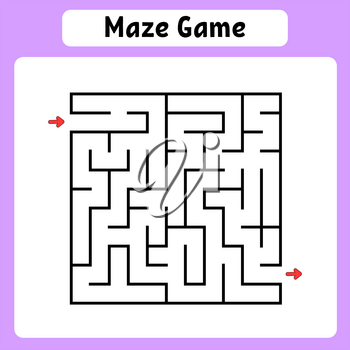 Square maze. Game for kids. Puzzle for children. Labyrinth conundrum. Vector illustration. Find the right path.