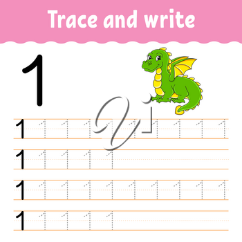 Learn Numbers. Trace and write. Handwriting practice. Learning numbers for kids. Education developing worksheet. Color activity page. Isolated vector illustration in cute cartoon style.
