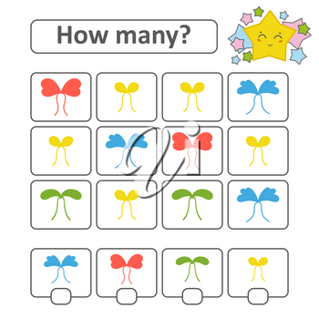 Counting game for preschool children. Count how many bows in the picture and write down the result. With a place for answers. Simple flat isolated vector illustration