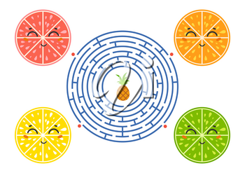Round maze with cartoon characters. Lovely fruit. An interesting and developing game for children. Simple flat isolated vector illustration.