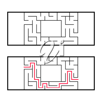 Rectangular labyrinth, maze. An interesting and useful game for preschoolers. An easy puzzle game. Simple flat vector illustration isolated on white background. With the right decision