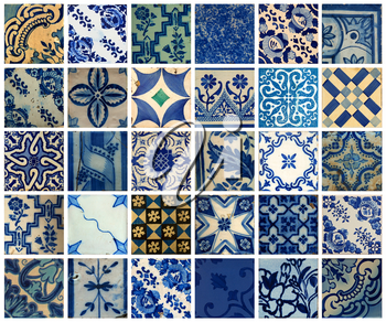 Collage of more than 30 different blue patterns tiles in Lisbon, Portugal