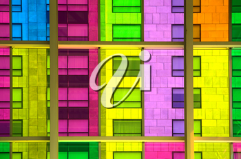 Colourful glass panels and windows in Montreal, Canada