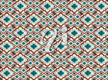 Photographe of traditional portuguese tiles in blue and orange pattern