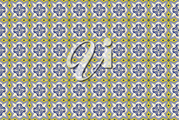 Collection of yellow and blue patterns tiles as a background